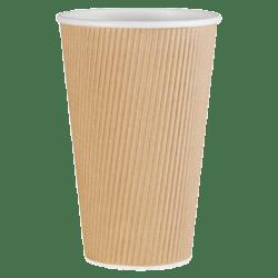 Genuine Joe Ripple Hot Cups, 16 Oz, Brown, Pack Of 25