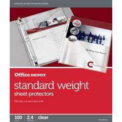 "Office Depot® Brand Standard Weight Sheet Protectors, 8-1/2"" x 11"", Clear, Box Of 100"