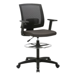 Lorell® SOHO Fabric Seat Mid-Back Task Stool, Black Seat/Black Frame, Quantity: 1