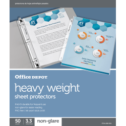 """Office Depot® Brand Heavyweight Sheet Protectors, 8-1/2"""" x 11"""", Clear, Non-Glare, Box Of 50"""