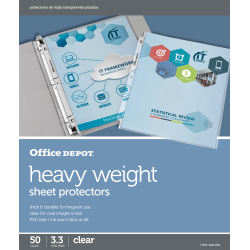 "Office Depot® Brand Heavyweight Sheet Protectors, 8-1/2"" x 11"", Clear, Pack Of 50"