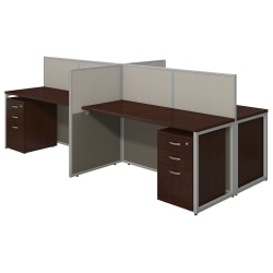 "Bush® Business Furniture Easy Office 4-Person Straight Desk Open Office With Four 3-Drawer Mobile Pedestals, 44 7/8""H x 60 1/25""W x 119 9/100""D, Mocha Cherry, Premium Delivery"