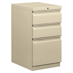 "basyx by HON® 20""D Vertical 3-Drawer File Cabinet, Metal, Putty"