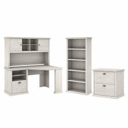 """Bush Furniture Yorktown 60""""W Corner Desk With Hutch, Lateral File Cabinet And 5-Shelf Bookcase, Linen White Oak, Standard Delivery"""