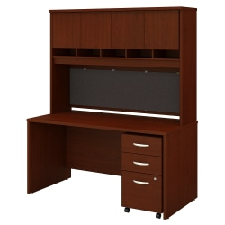 "Bush Business Furniture Components 60""W Office Desk With Hutch And Mobile File Cabinet, Mahogany, Standard Delivery"