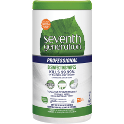 """Seventh Generation® Professional Disinfecting Multi-Surface Wipes, 8"""" x 7"""", Lemongrass Citrus, 70 Wipes Per Canister, Carton Of 6 Canisters"""