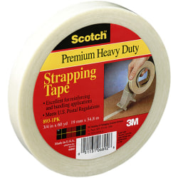 "3M® 893 Strapping Tape, 3/8"" x 60 Yd., Clear, Case Of 12"