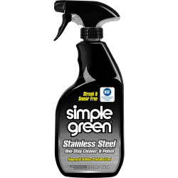 Simple Green Stainless Steel Cleaner / Polish - Concentrate Spray - 0.25 gal (32 fl oz) - Original Scent - 12 / Carton