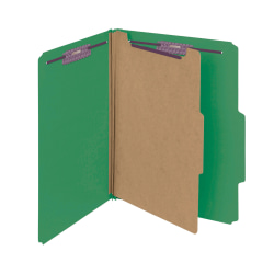 Smead® Pressboard Classification Folder, 1 Divider, Letter Size, 50% Recycled, Green