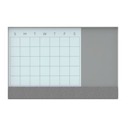 """U Brands 3N1 Magnetic Glass Dry Erase Monthly Calendar Board, 36"""" X 24"""", White/Grey Surface, White Aluminum Frame"""