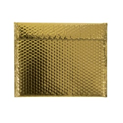 """Partners Brand Gold Glamour Bubble Mailers 13 3/4"""" x 11, Pack of 48"""