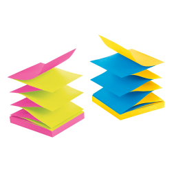 """Post-it® Notes, Super Sticky Pop Up Notes, 3"""" x 3"""", Rio de Janeiro, Alternating Colors , Pack Of 10 Pads"""