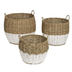 Honey-Can-Do Round Nesting Seagrass 2-Color Baskets With Handles, Medium Size, Natural & White, Set Of 3
