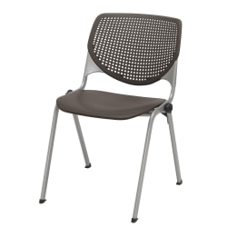 KFI Studios KOOL Stacking Chair, Brownstone/Silver