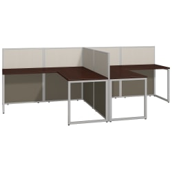 """Bush Business Furniture Easy Office 60""""W 2-Person L-Shaped Cubicle Desk Workstation With 45""""H Panels, Mocha Cherry/Silver Gray, Premium Installation"""