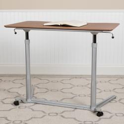 "Flash Furniture 38""W Sit-Down/Stand-Up Ergonomic Computer Desk, Cherry"