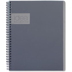 """TOPS Idea Collective Professional Notebook - Twin Wirebound - College Ruled - 6"""" x 9 1/2"""" - Gray Cover - Soft Cover, Perforated - 1Each"""