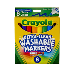 Crayola® Ultra-Clean Washable Color Markers, Broad Tip, Assorted Classic Colors, Box Of 8