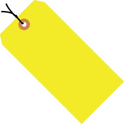 "Office Depot® Brand Fluorescent Prestrung Shipping Tags, #6, 5 1/4"" x 2 5/8"", Yellow, Box Of 1,000"