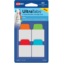 "Avery® UltraTabs Repositionable Mini Tabs - Write-on Tab(s) - 1.50"" Tab Height x 1"" Tab Width - Assorted Tab(s) - 80 / Pack"