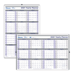 "Blueline® Net Zero Carbon Laminated Erasable/Reversible Wall Calendar, 24"" x 36"", 30% Recycled, FSC® Certified, Black/Blue/Grey, 12-month January to December 2021"