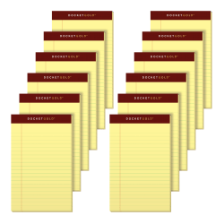 "TOPS™ Docket Gold™ Premium Writing Pads, 5"" x 8"", Legal Ruled, 50 Sheets, Canary, Pack Of 12 Pads"