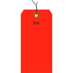 "Office Depot® Brand Fluorescent Prewired Shipping Tags, #8, 6 1/4"" x 3 1/8"", Red, Box Of 1,000"