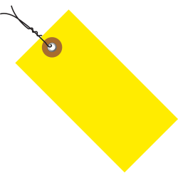 """Tyvek® Prewired Shipping Tags, #5, 4 3/4"""" x 2 3/8"""", Yellow, Box Of 100"""