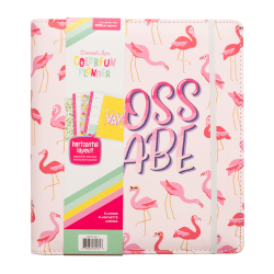 "American Crafts Damask Love Colorfun Planner, 8-1/2"" x 9-1/2"", Flamingo Boss, 356265"