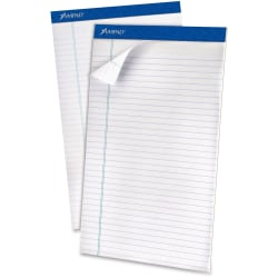 "Ampad Top - bound Legal Writing Pad - Legal - 50 Sheets - 15 lb Basis Weight - 8 1/2"" x 14"" - 0.2"" x 8.5""14"" - White Paper - Perforated, Easy Tear, Chipboard Backing, Sturdy - 12 / Pack"