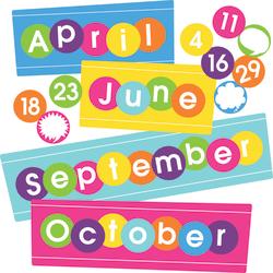 "Barker Creek Calendar Month And Number Set, 12"" x 5"", Happy, Pre-K - College"