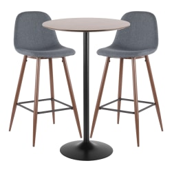 LumiSource Pebble Mid-Century Modern Table With 2 Chairs, Black/Walnut/Blue