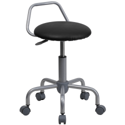 Flash Furniture Ergonomic Task Stool, Black Seat/Silver Frame, Quantity: 1