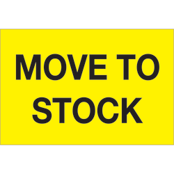 """Tape Logic® Preprinted Special Handling Labels, DL1133, Move To Stock, Rectangle, 2"""" x 3"""", Fluorescent Yellow, Roll Of 500"""