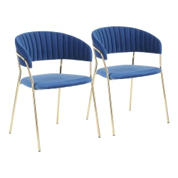 LumiSource Tania Chairs, Gold/Blue, Set Of 2 Chairs