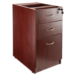 "Lorell® Essentials 22""D Vertical 3-Drawer Fixed Pedestal File Cabinet, Metal, Mahogany"