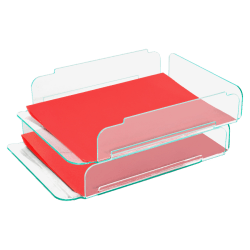 """Lorell® Acrylic Stacking Letter Trays, For * 1/2"""" x 11"""" Use, Clear/Green Edge, Set Of 2"""
