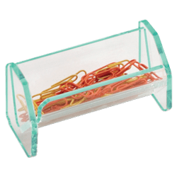 "Lorell® Acrylic Paper Clip Holder, 4""W x 2""D x 2 1/2""H, Clear/Green Edge"