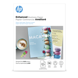 """HP Enhanced Business Paper for Laser Printers, Matte, Letter Size (8 1/2"""" x 11""""), 40 Lb, White, Pack Of 150 Sheets (Q6543A)"""