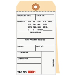 Manila Inventory Tags, 3-Part Carbonless, 5000-5499, Box Of 500