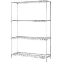"""Lorell® Industrial Wire Shelving Starter Unit, 48""""W x 24""""D, Chrome"""