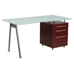 Flash Furniture Contemporary Glass Computer Desk with 3-Drawer Pedestal, Frost/Mahogany