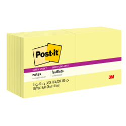 "Post it® Super Sticky Notes, 3"" x 3"", Canary Yellow, Pack Of 12 Pads"