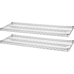 """Lorell® Industrial Wire Shelving Extra Shelves, 48""""W x 24""""D, Chrome, Set Of 2"""
