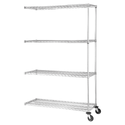 "Lorell® Industrial Wire Shelving Add-On Unit, 48""W x 18""D, Chrome"