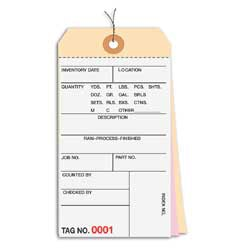 Prewired Manila Inventory Tags, 3-Part Carbonless, 500-999, Box Of 500