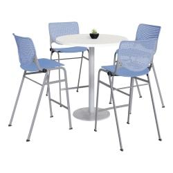 "KFI Studios KOOL Round Pedestal Table With 4 Stacking Chairs, 41""H x 36""D, Designer White/Peri Blue"