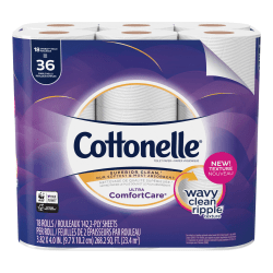 Cottonelle Ultra ComfortCare Toilet Paper - Double Rolls - 2 Ply - 142 Sheets/Roll - White - Sewer-safe, Septic Safe, Flushable, Absorbent - For Home, Office, School - 18 / Pack
