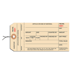 Prewired Manila Inventory Tags, 1-Part Stub Style, 0-999, Box Of 1,000