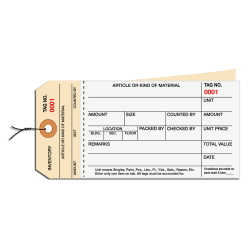 Prewired Manila Inventory Tags, 2-Part Carbonless Stub Style, 500-999, Box Of 500